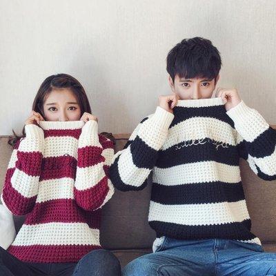 情侶裝 新款韓版情侶毛衣 套頭針織衫 學生寬松打底線衫 毛線衣 班服—莎芭
