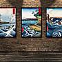 浮世繪復古裝飾畫日本戰國水墨畫富士山京都...
