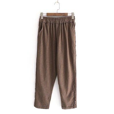 休閒 褲 純色 長褲-簡約百搭舒適鬆緊腰女褲子2色73tq50[獨家進口][米蘭精品]