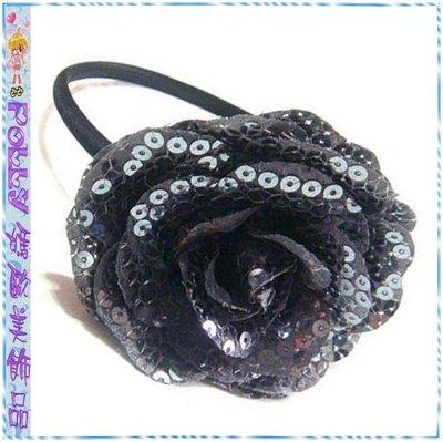 ☆POLLY媽☆歐美進口鐵灰色亮片大玫瑰花黑色絲緞窄版髮箍