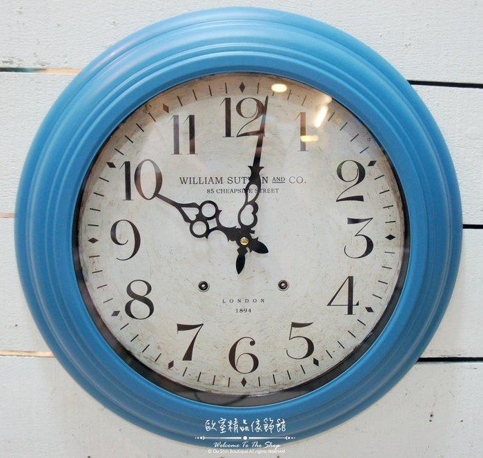 ~*歐室精品傢飾館*~美式鄉村 鐵製 簡約 數字 時鐘 掛鐘 藍色 擺飾 裝飾 42公分 居家 民宿 壁飾 ~新款上市~