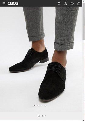 ASOS DESIGN derby shoes in black suede oxford 麂皮 牛津 德比鞋