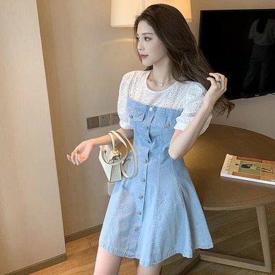 ❤公主的著衣❤韓國空運~甜美勾花拼接收腰牛仔連身裙