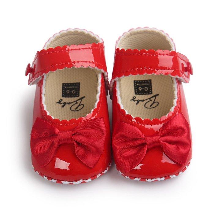 森林寶貝屋~亮紅蝴蝶結公主鞋~學步鞋~幼兒鞋~寶寶鞋~娃娃鞋~學走鞋~防滑鞋~魔術貼設計~坐學步車穿~彌月贈禮