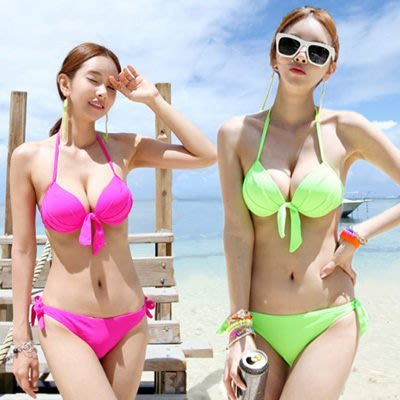 春吶海邊必備可搭配隱形胸罩【O2600】歐美性感亮色比基尼泳裝☆雙兒網☆