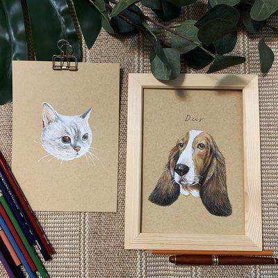 彩色 精細素描 訂製畫作 寵物 聖誕禮物 紀念品 客製品 毛小孩