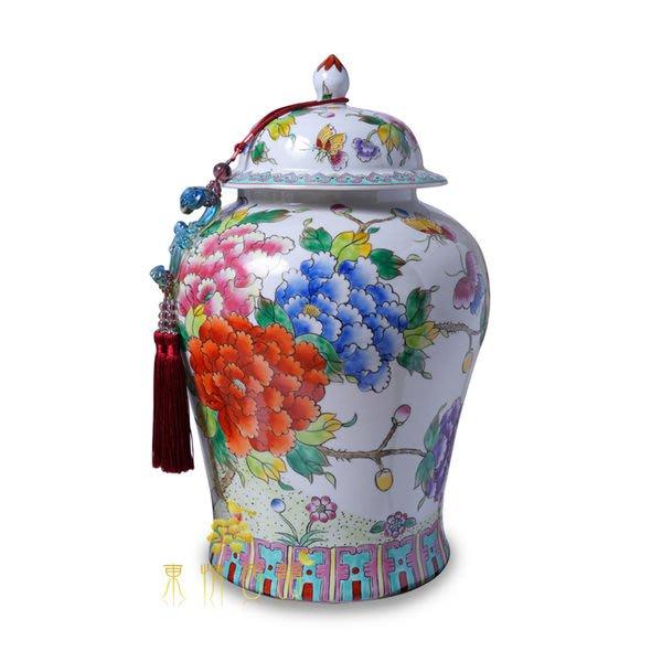 【芮洛蔓 La Romance】東情西韻手繪牡丹花卉將軍罐20吋 (另有13吋)