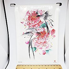 【萌古屋】紅花與鳥手臂大圖 - 防水紋身貼紙刺青貼紙HB-195X