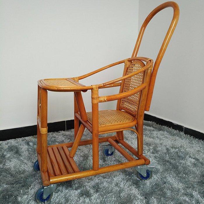 真藤編制嬰兒推車夏季涼快輕便嬰兒車可裝遮陽傘竹編寶寶推車藤車