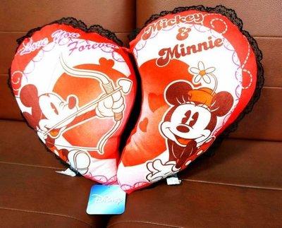 UNIPRO 迪士尼 米奇 米妮 大愛心抱枕 絨毛 情人枕 Love you forever 情人節禮物 大 Mickey Minnie