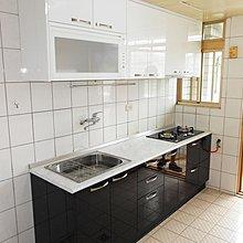晶潔廚具 黑白簡約搭配風格~時尚廚房 木心桶+美耐門+美耐檯面 240CM上下櫃+豪山三機