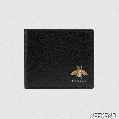 【WEEKEND】 GUCCI Animalier Bee 蜜蜂 皮革 皮夾 短夾 黑色 523664 20春夏