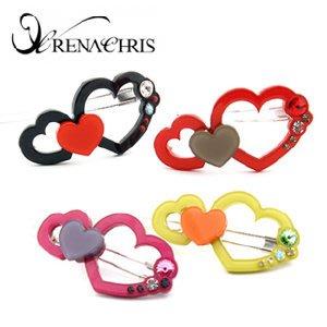 BHI966-法國品牌RenaChris 施華洛世奇晶鑽心心相印髮夾 邊夾 扣夾【韓國製】