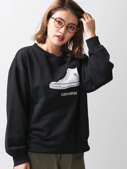 ☆AirRoom☆【現貨】CONVERSE shoe print sweat 大學TEE 鞋子 LOGO 保暖 刷毛