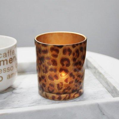 熱銷#創意豹紋杯形玻璃燭臺浪漫酒吧裝飾擺設DIY香薫空杯送電子蠟#燭臺#裝飾
