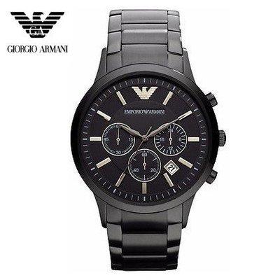 現貨Armani亞曼尼手錶男士黑色不鏽鋼帶三眼計時石英男錶AR2453