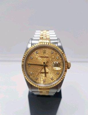鴻圖當舖 Rolex 勞力士 16233 18K半金原廠紀念面十鑽男庄腕錶