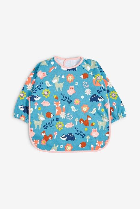 【Kids Shop 流行童裝】英國Next女寶寶藍綠色森林卡通圖案長袖防滴漏口水巾~代購