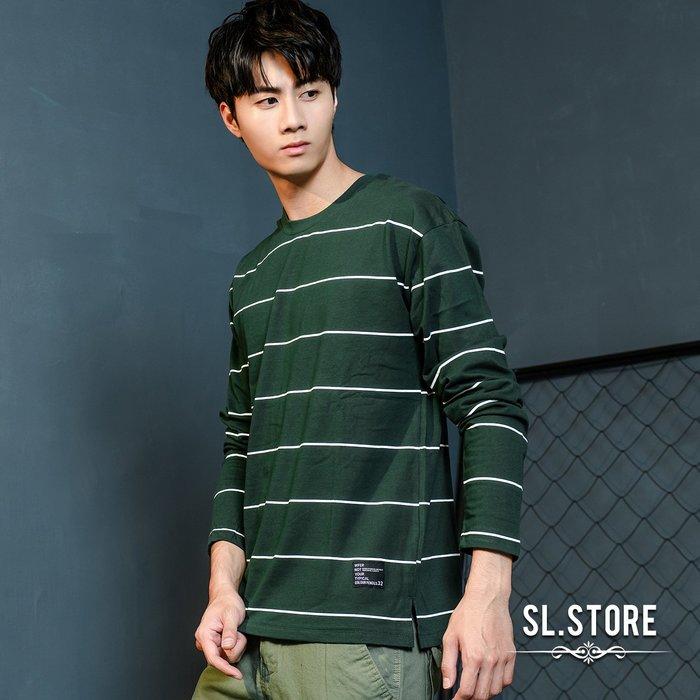 SL Store【DA605】MIT開叉落肩條紋長T.綠/灰/黑/黃/M/L/XL