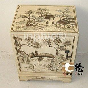 INPHIC-田園新古典 漆器 手繪彩繪 單門 床頭櫃 小櫃