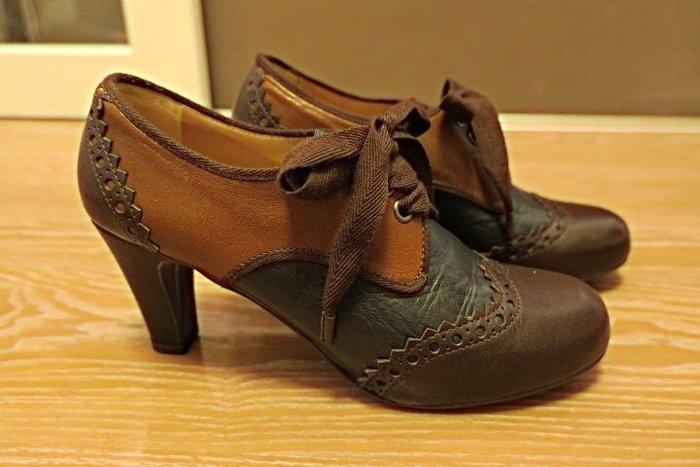 *Beauty*URSULA MASCARO 咖啡色牛津拼接踝靴 37號 PH 原價12850元