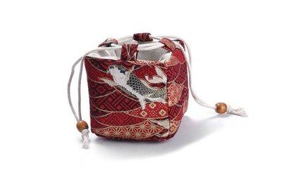 【茗壺居】單杯棉麻茶具收納袋 旅行外出方便攜帶 茶杯收納 小型簡易多功能紅鯉魚花紋方包 桃園市