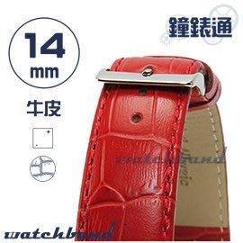 【鐘錶通】C1.21I《亮彩系列》鱷魚格紋-14mm 烈焰紅┝手錶錶帶/皮帶/牛皮錶帶┥