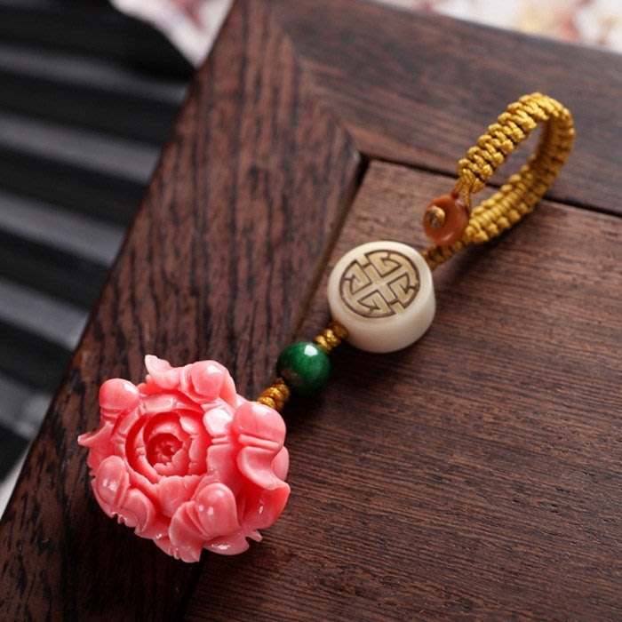 5Cgo【茗道】542709693433 中國結編織玉蟬福豆蓮花汽車鑰匙扣掛件出入平安可愛鑰匙圈包包吊飾手機吊飾-牡丹花