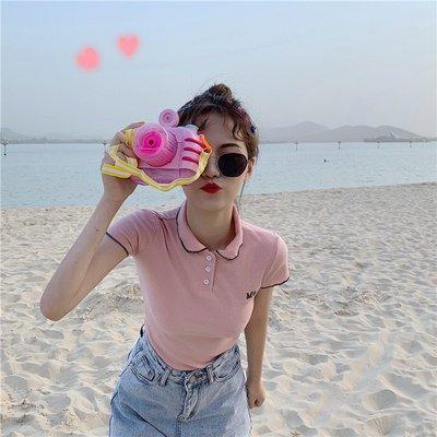 2019新款夏季韓版甜美修身顯瘦短袖t恤女撞色上衣Polo衫學生女潮《拾月生活小鋪