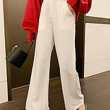 Little-Luck~ RPIN白色闊腿褲女2019春裝新款寬松褲子墜感直筒褲高腰休閒褲夏季
