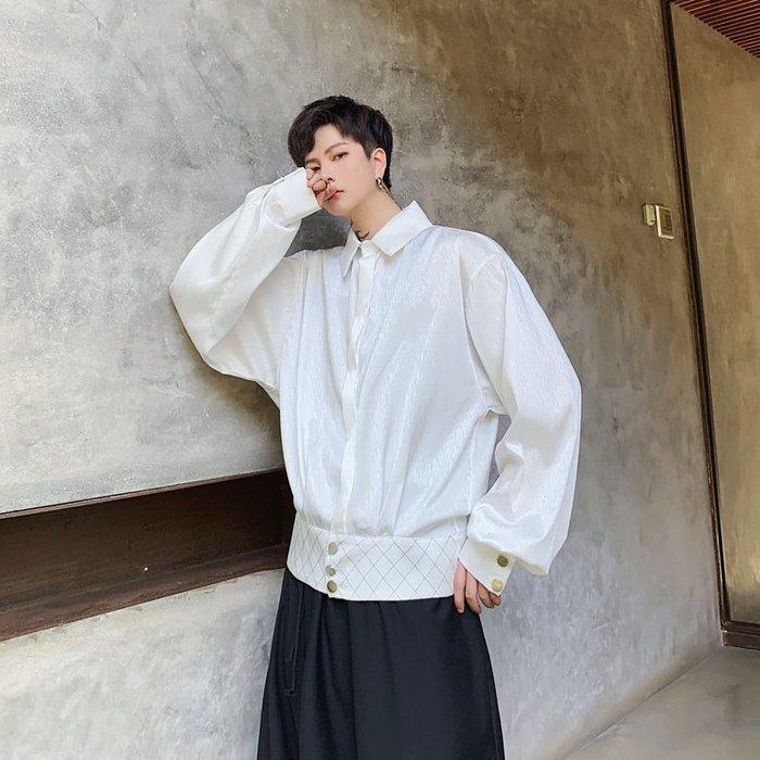FINDSENSE 2019 秋季上新 G19 復古文藝蝙蝠袖下擺設計款絲質垂感長袖襯衫白色素面襯衫 男裝 上衣