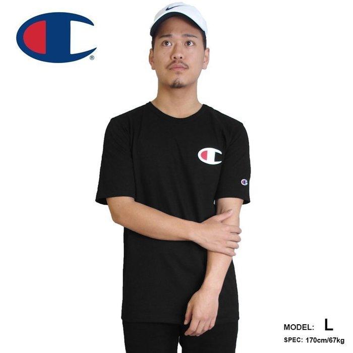 美國百分百【Champion】冠軍 T恤 短袖 T-shirt 大logo 素T 高磅數 潮牌 黑色 上衣 G435