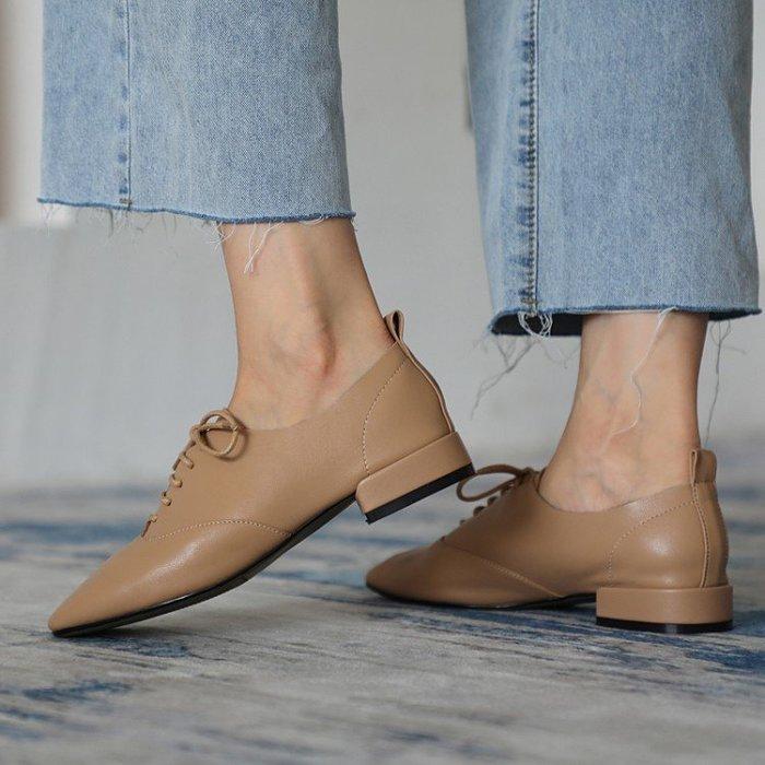 『Alice❤愛麗絲』新款英倫風系帶單鞋復古方頭時尚百搭秋季真皮ins休閒小皮鞋