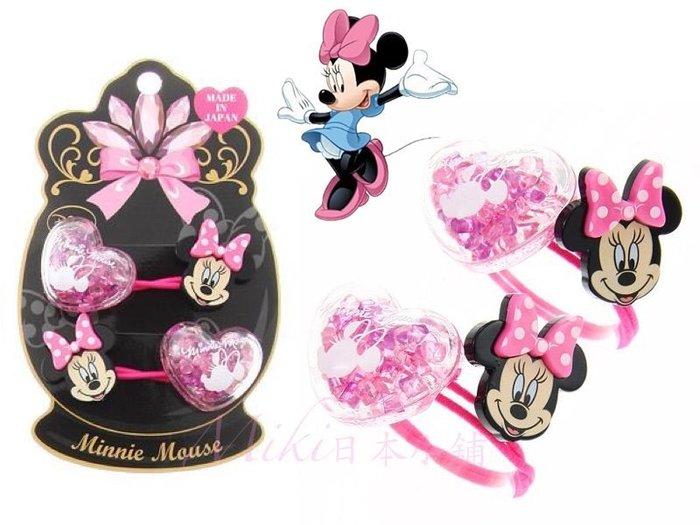 *Miki日本小舖*日本迪士尼Minnie Mouse 米妮+粉色透明愛心造型+ 蝴蝶結造型髮束/髮飾/髮圈 日本製