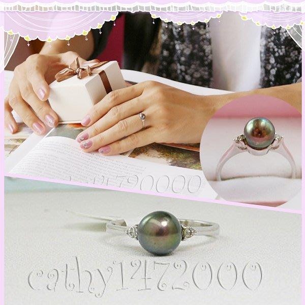。☆凱希小舖☆。♥ 日本珍珠 鑽石 純k金戒no.9710