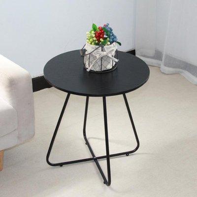 茶幾小圓桌現代簡約沙發旁邊迷你圓形茶幾簡易臥室床頭桌黑色鐵藝桌子LX榮耀 新品