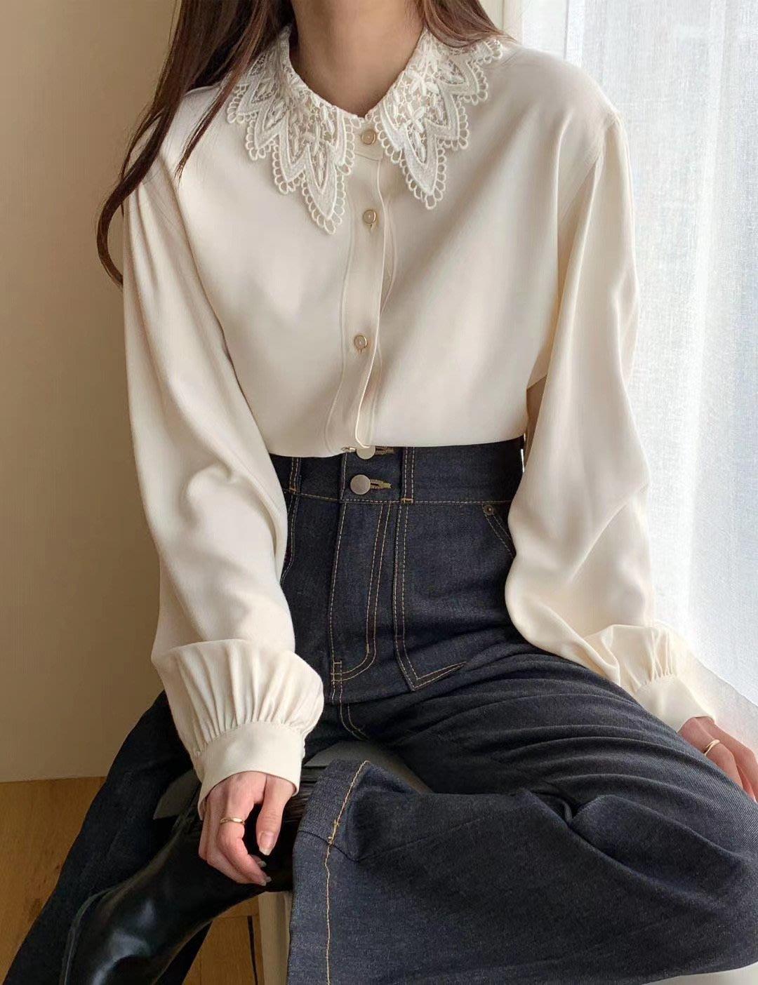 *~fuyumi boutique~*100%正韓 冬裝新款 緹花蕾絲領質感襯衫 黑/米白/咖