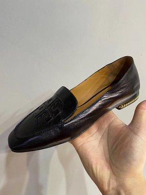 【全新正貨私家珍藏】TORY BURCH Ruby 15mm Loafer 牛皮低跟舒適休閒福樂鞋((黑色現貨))
