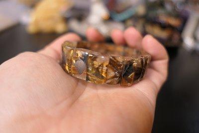 鈦晶咖啡鈦手排太陽花鈦排水晶對花 51克 16mm 手鍊現貨罕品珍藏讓藏