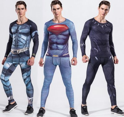 超人緊身衣健身服套裝男長袖蜘蛛俠美國隊長運動跑步透氣速幹服