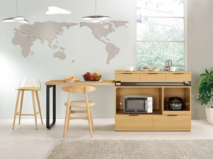 CH399-1 達拉斯4尺中島型多功能餐桌櫃/大台北地區/系統家具/沙發/床墊/茶几/高低櫃/1元起/超低價/高品質