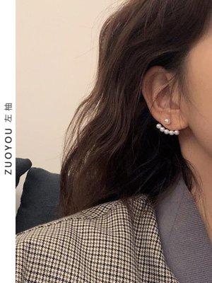 韓國一款兩戴珍珠純銀氣質女耳環簡約耳釘百搭無耳洞耳夾R440