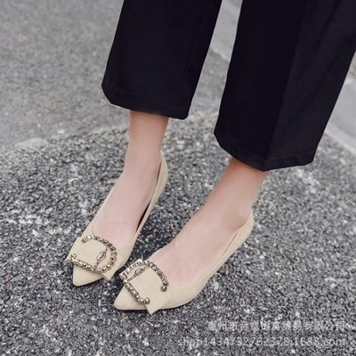 【全館免運】中跟鞋 春季新款絨面尖頭淺口細跟金屬水鉆中跟單鞋XSM2174【特價促銷】