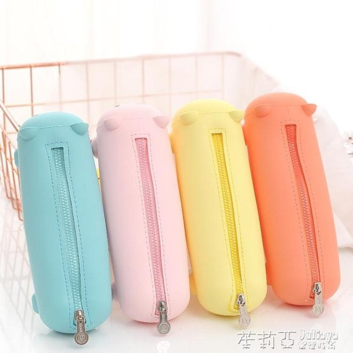 硅膠小熊筆袋正韓簡約女生小清新可愛大容量學生文具袋
