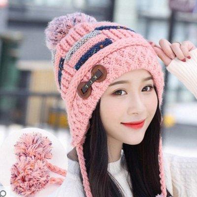 糖衣子輕鬆購【BA0251】韓版時尚女士帽斜紋毛球針織帽格紋毛線帽子