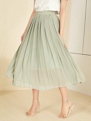范思藍恩適合胯大腿粗的裙子夏季2019新款高腰百褶裙中長款半身裙