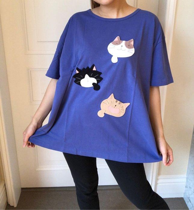 日本卡拉貓~ 貓咪我我我抗菌純棉上衣 大尺碼
