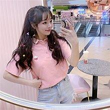 小香風 短袖T恤 時尚穿搭 女裝 韓版 學院風可愛刺繡POLO領寬松短袖T恤學生翻領百搭上衣
