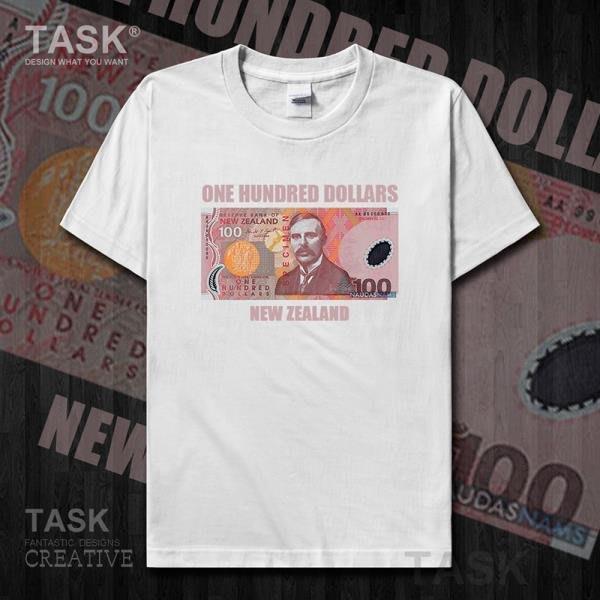TASK 新西蘭元100NZD紐西蘭惡搞貨幣Dollars純棉短袖T恤男女衣服夏