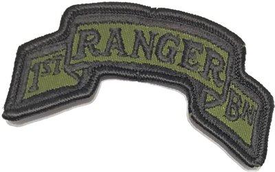 美軍公發 ARMY 陸軍 1st Ranger Battalion 第1遊騎兵營 臂章 綠色 全新